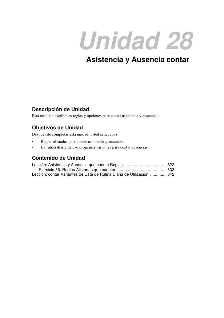 Unidad 28                                  Asistencia y Ausencia contarDescripción de UnidadEsta unidad describe las regla...