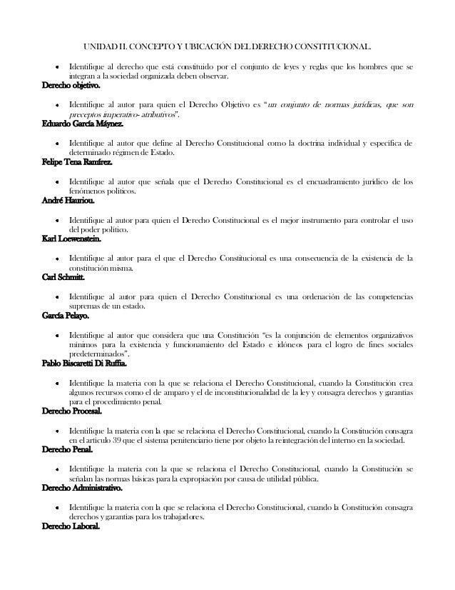 UNIDAD II. CONCEPTO Y UBICACIÓN DEL DERECHO CONSTITUCIONAL.Identifique al derecho que está constituido por el conjunto de ...