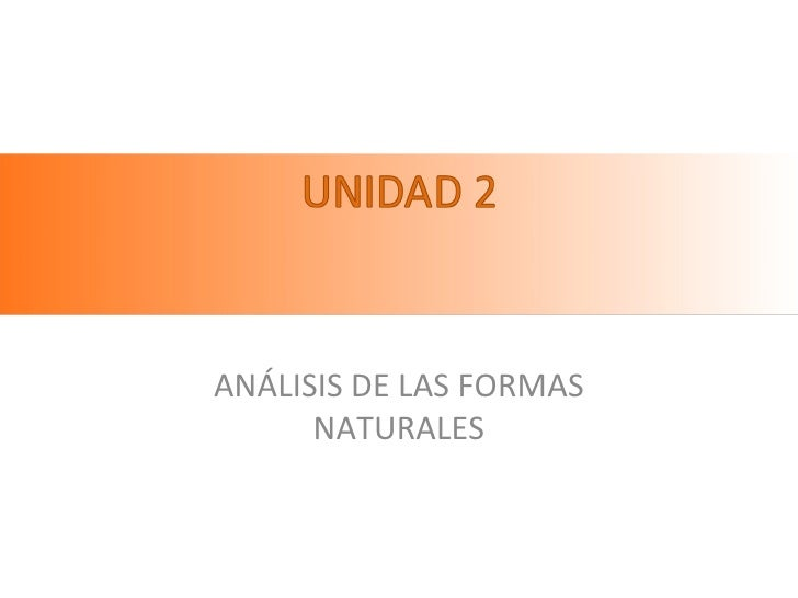 Unidad 2 analisis formas naturales