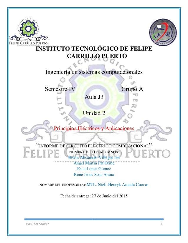 ESAÚ LOPEZ GOMEZ 1 INSTITUTO TECNOLÓGICO DE FELIPE CARRILLO PUERTO Ingeniería en sistemas computacionales Semestre IV Grup...