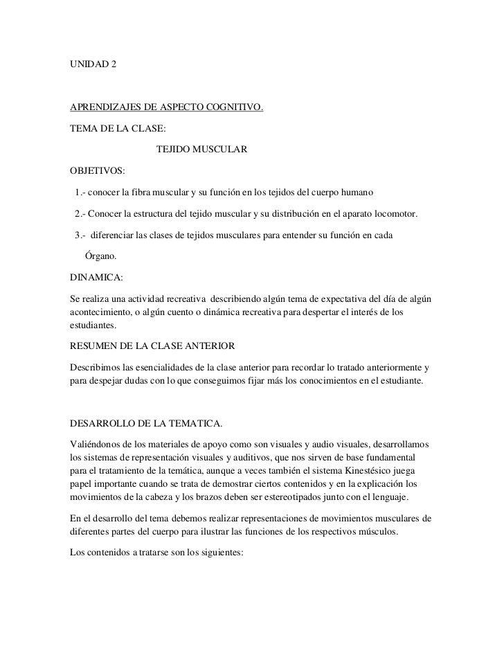 UNIDAD 2 <br />APRENDIZAJES DE ASPECTO COGNITIVO.<br />TEMA DE LA CLASE:<br />                                   TEJIDO MU...