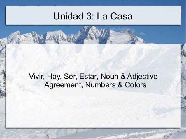 Unidad 3: La Casa Vivir, Hay, Ser, Estar, Noun & Adjective Agreement, Numbers & Colors