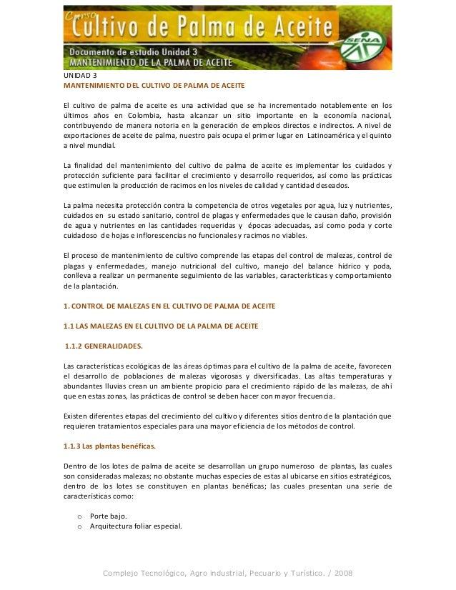 UNIDAD 3 MANTENIMIENTO DEL CULTIVO DE PALMA DE ACEITE El cultivo de palma de aceite es una actividad que se ha incrementad...