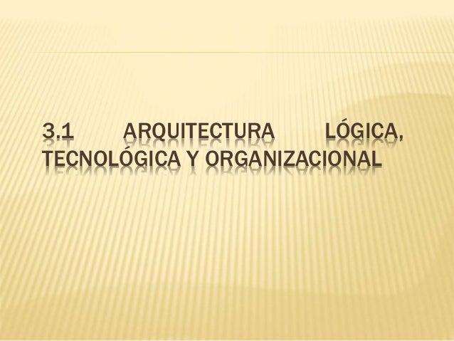 3.1 ARQUITECTURA LÓGICA,  TECNOLÓGICA Y ORGANIZACIONAL