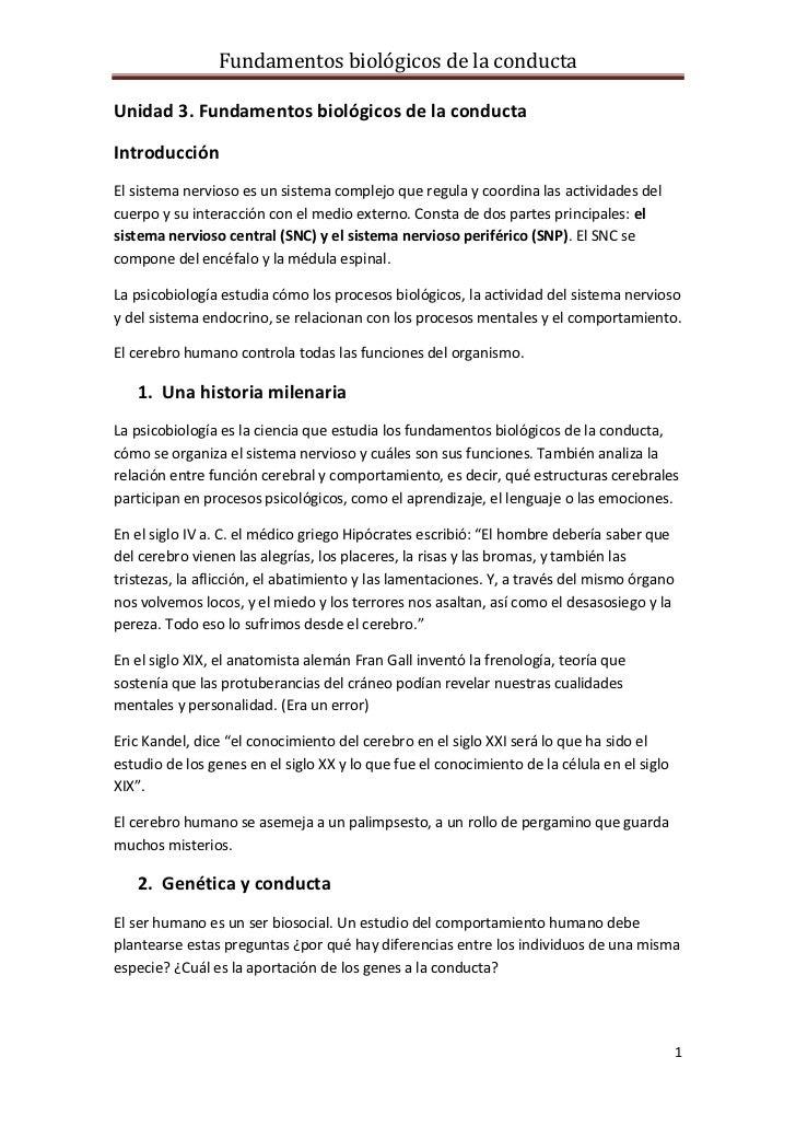 Unidad 3. Fundamentos biológicos de la conducta