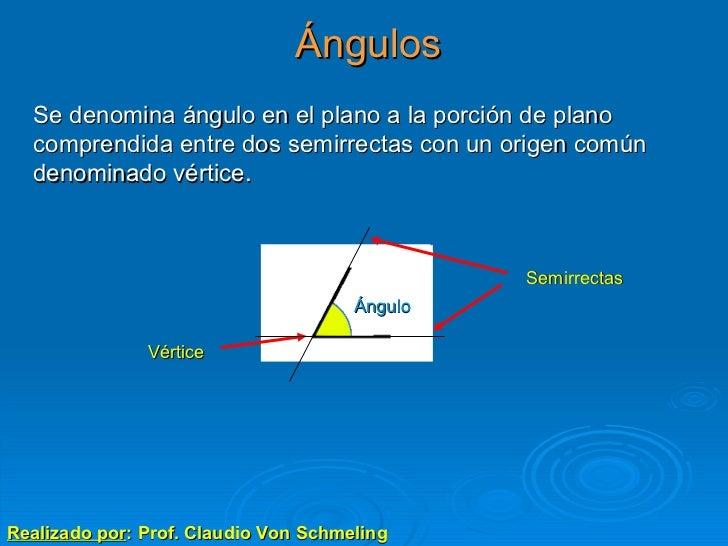 Ángulos Realizado por : Prof. Claudio Von Schmeling Se denomina ángulo en el plano a la porción de plano comprendida entre...