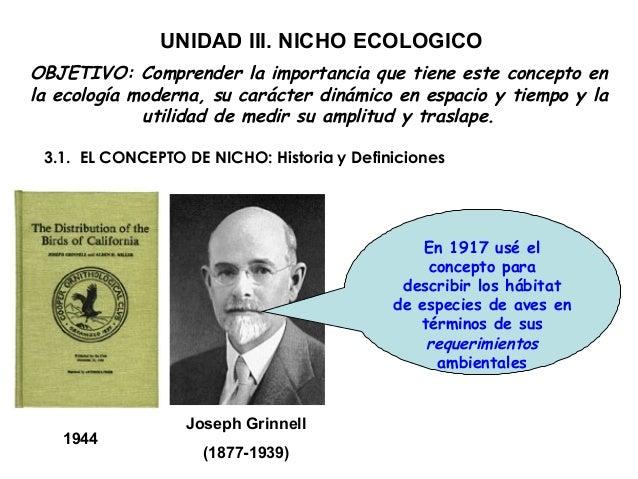 UNIDAD III. NICHO ECOLOGICOOBJETIVO: Comprender la importancia que tiene este concepto enla ecología moderna, su carácter ...