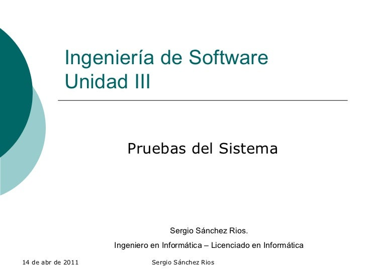 Unidad 3.1 Prueba De Sistemas