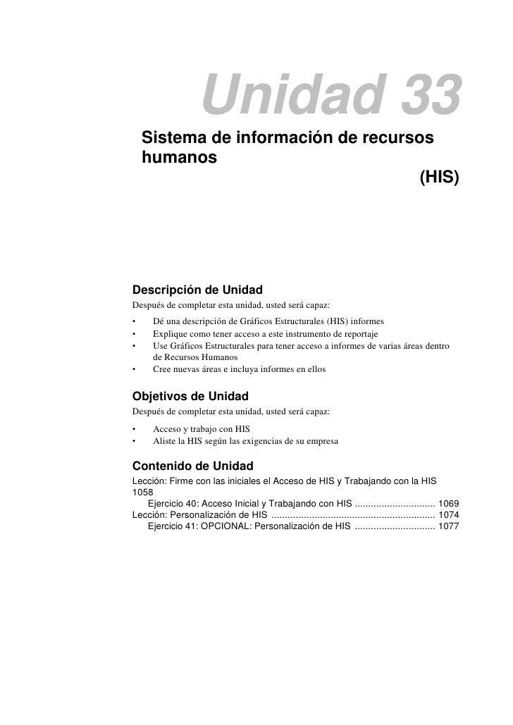 Unidad 33    Sistema de información de recursos    humanos                                     (HIS)Descripción de UnidadD...