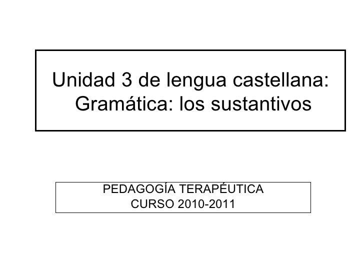 Unidad 3 de lengua castellana:  Gramática: los sustantivos     PEDAGOGÍA TERAPÉUTICA        CURSO 2010-2011