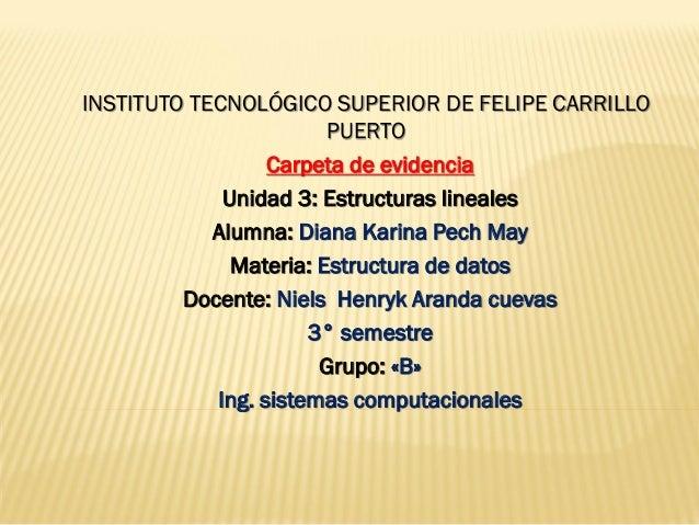 INSTITUTO TECNOLÓGICO SUPERIOR DE FELIPE CARRILLO PUERTO  Carpeta de evidencia  Unidad 3: Estructuras lineales  Alumna: Di...