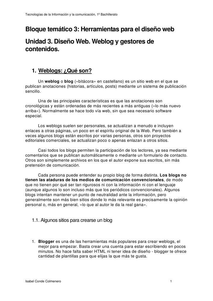 Unidad 3, DiseñO Web,Weblogs Y Gestores De Contenidos