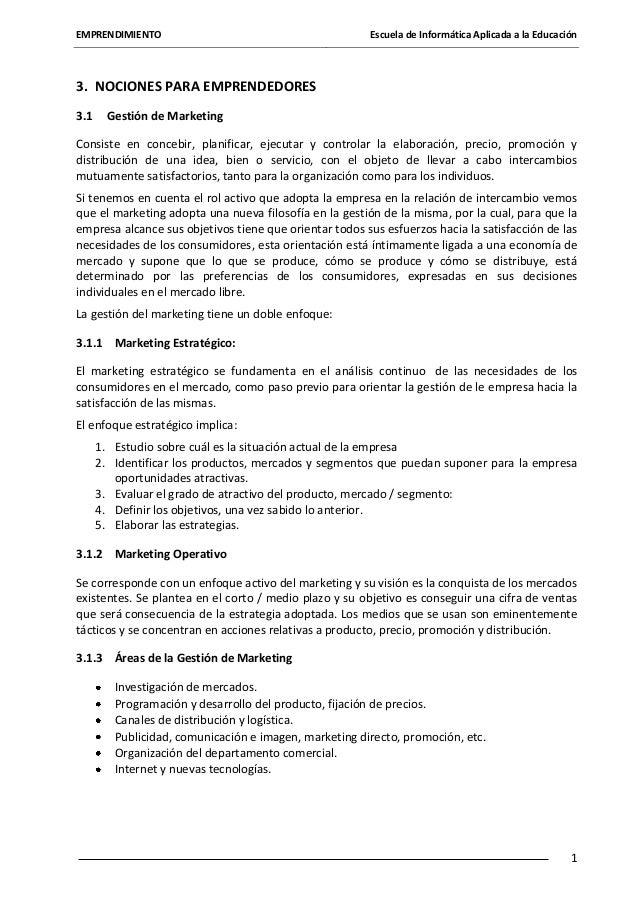 EMPRENDIMIENTO  Escuela de Informática Aplicada a la Educación  3. NOCIONES PARA EMPRENDEDORES 3.1  Gestión de Marketing  ...