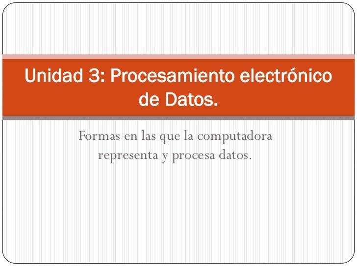 Unidad 3  procesamiento de los datos