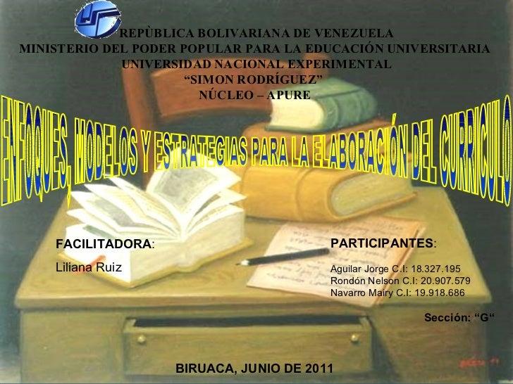 REPÙBLICA BOLIVARIANA DE VENEZUELA MINISTERIO DEL PODER POPULAR PARA LA EDUCACIÓN UNIVERSITARIA  UNIVERSIDAD NACIONAL EXPE...