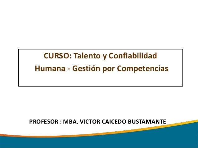 CURSO: Talento y Confiabilidad Humana - Gestión por CompetenciasPROFESOR : MBA. VICTOR CAICEDO BUSTAMANTE