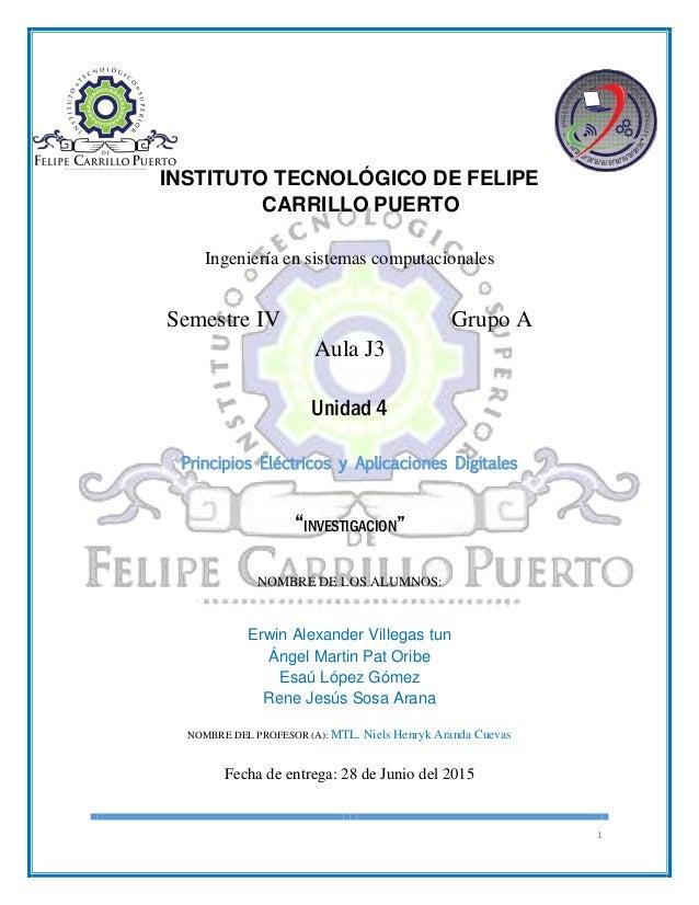 1 INSTITUTO TECNOLÓGICO DE FELIPE CARRILLO PUERTO Ingeniería en sistemas computacionales Semestre IV Grupo A Aula J3 Unida...