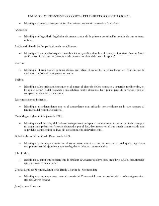UNIDAD V. VERTIENTES IDEOLÓGICAS DEL DERECHO CONSTITUCIONAL.