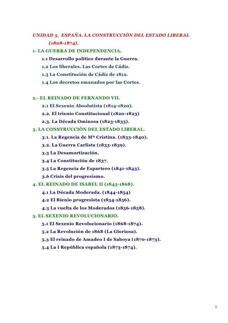 Unidad 5. La ConstruccióN Del Estado Liberal. Apuntes