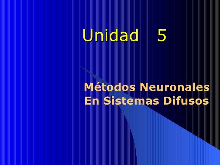 Unidad  5 Métodos Neuronales En Sistemas Difusos