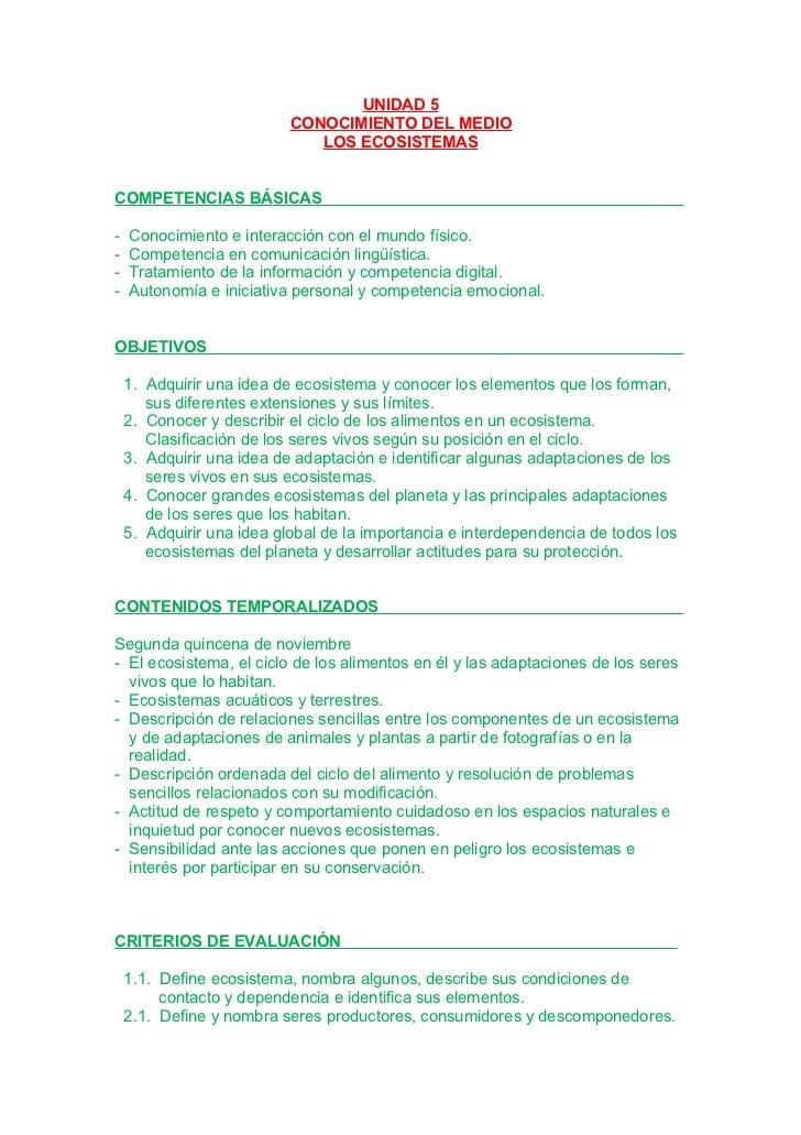 Unidad 5. Práctica de la división y los ecosistemas