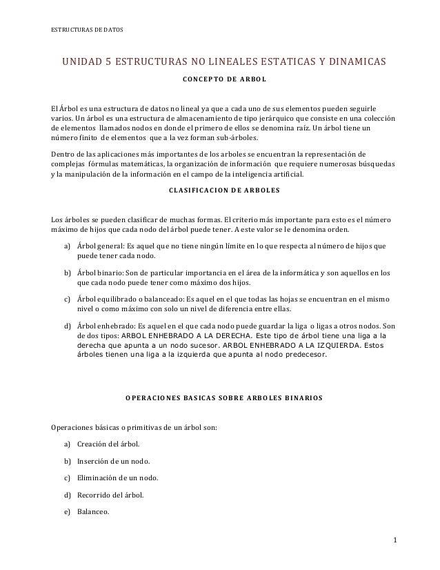 ESTRUCTURAS DE DATOS   UNIDAD 5 ESTRUCTURAS NO LINEALES ESTATICAS Y DINAMICAS                                      CO NCE ...
