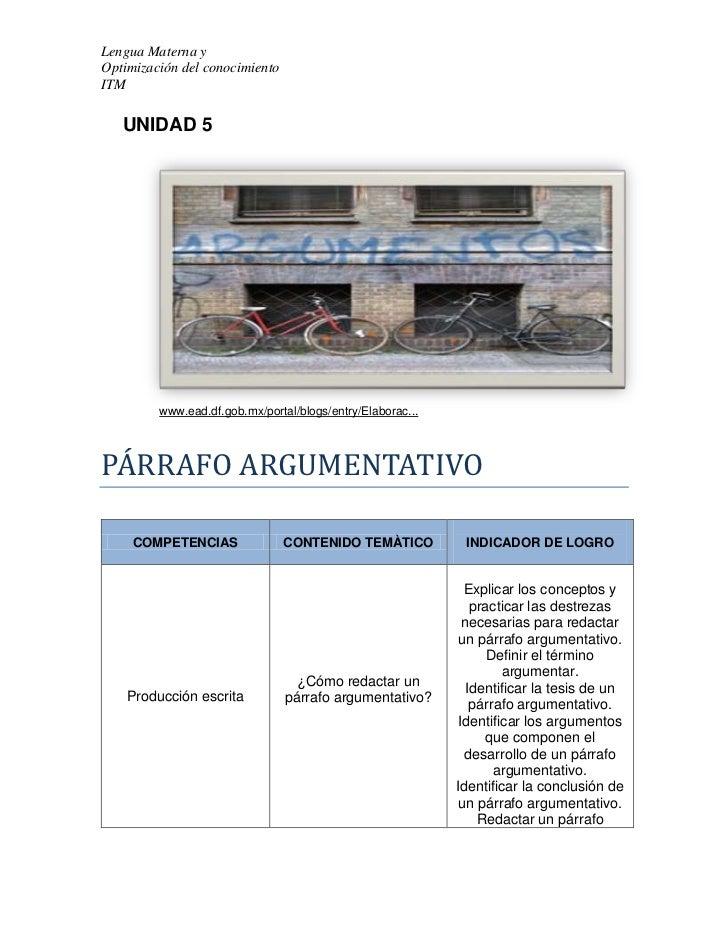 Lengua Materna yOptimización del conocimientoITM   UNIDAD 5         www.ead.df.gob.mx/portal/blogs/entry/Elaborac...PÁRRAF...