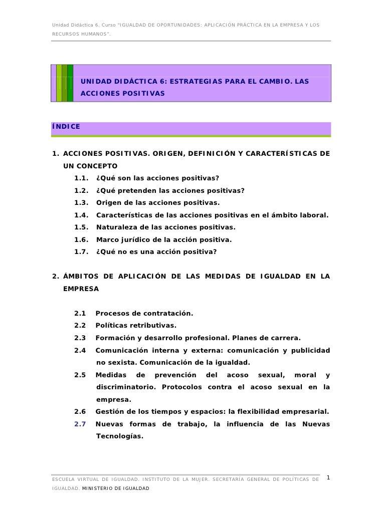 """Unidad Didáctica 6. Curso """"IGUALDAD DE OPORTUNIDADES: APLICACIÓN PRÁCTICA EN LA EMPRESA Y LOSRECURSOS HUMANOS"""".         UN..."""