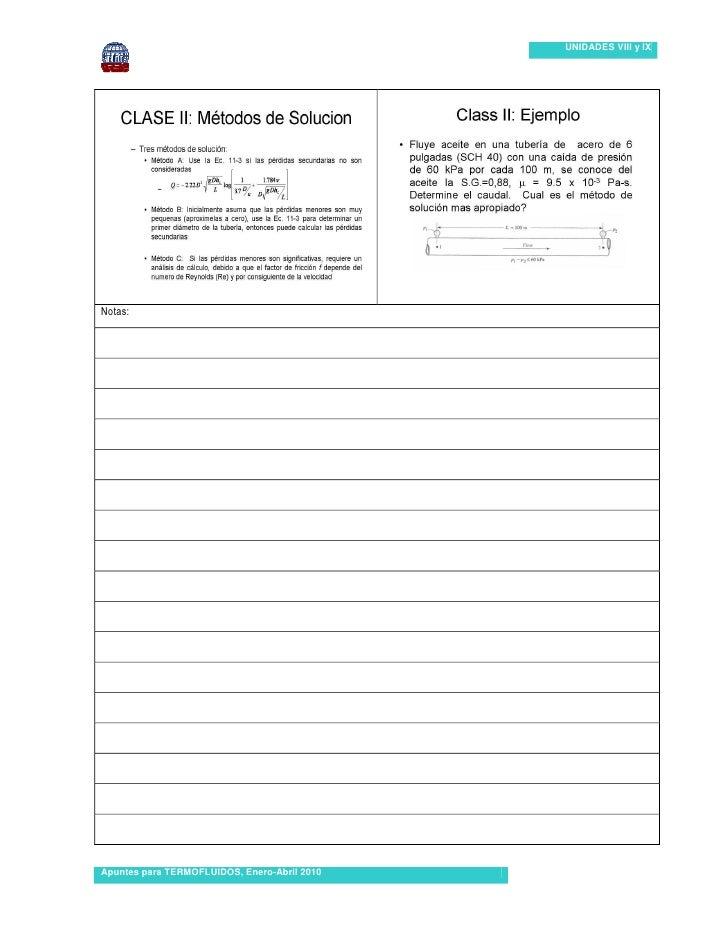 UNIDADES VIII y IX…Notas:Apuntes para TERMOFLUIDOS, Enero-Abril 2010