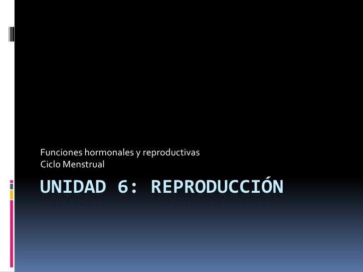 Unidad 6: REPRODUCCIÓN<br />Funciones hormonales y reproductivas<br />Ciclo Menstrual<br />