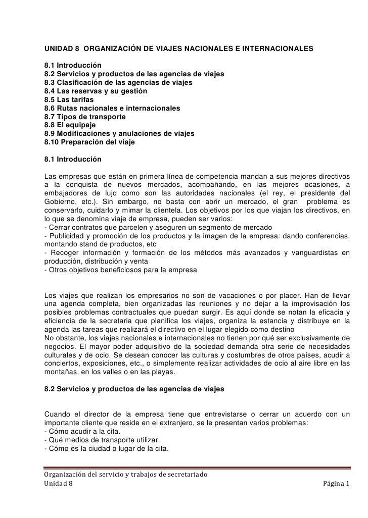 UNIDAD 8 ORGANIZACIÓN DE VIAJES NACIONALES E INTERNACIONALES8.1 Introducción8.2 Servicios y productos de las agencias de v...
