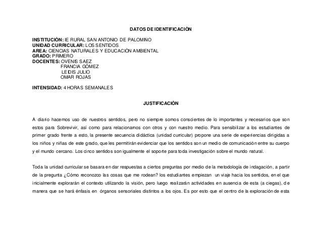 DATOS DE IDENTIFICACIÒN INSTITUCIÒN: IE RURAL SAN ANTONIO DE PALOMINO UNIDAD CURRICULAR: LOS SENTIDOS AREA: CIENCIAS NATUR...