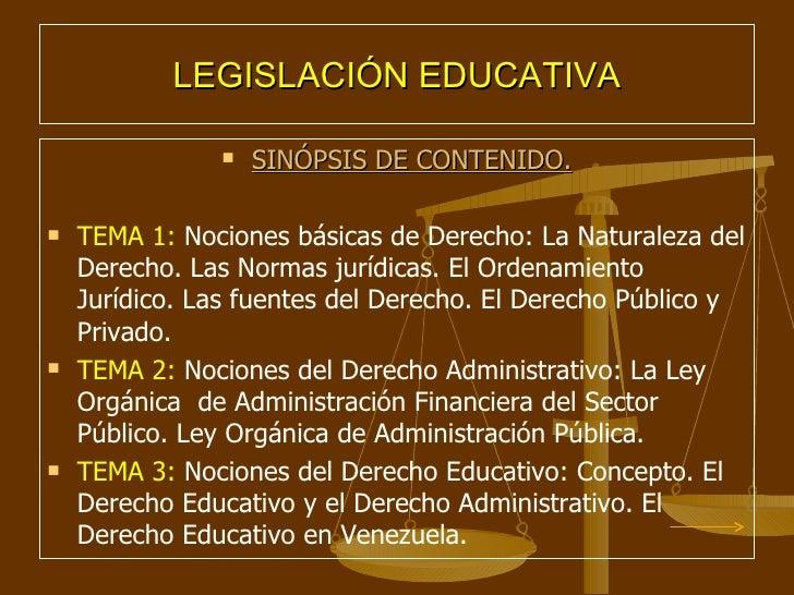 Unidad Curricular Legislacion Educativa