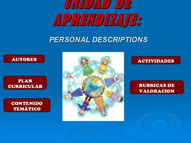 Unidad de aprendizaje: PERSONAL DESCRIPTION