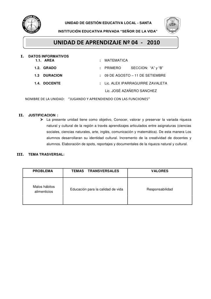 """UNIDAD DE GESTIÓN EDUCATIVA LOCAL - SANTA                            INSTITUCIÓN EDUCATIVA PRIVADA """"SEÑOR DE LA VIDA""""     ..."""