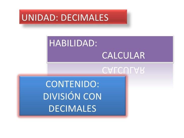 CONTENIDO: DIVISIÓN CON DECIMALES UNIDAD: DECIMALES