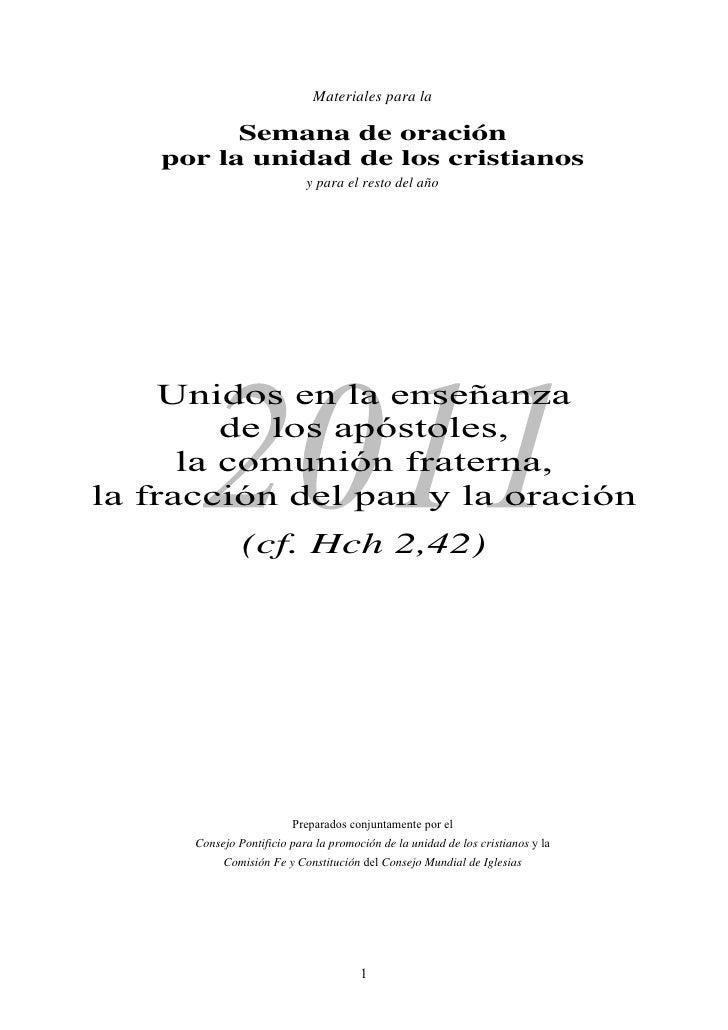 Semana de Oración Unidad por la unidad de los cristianos
