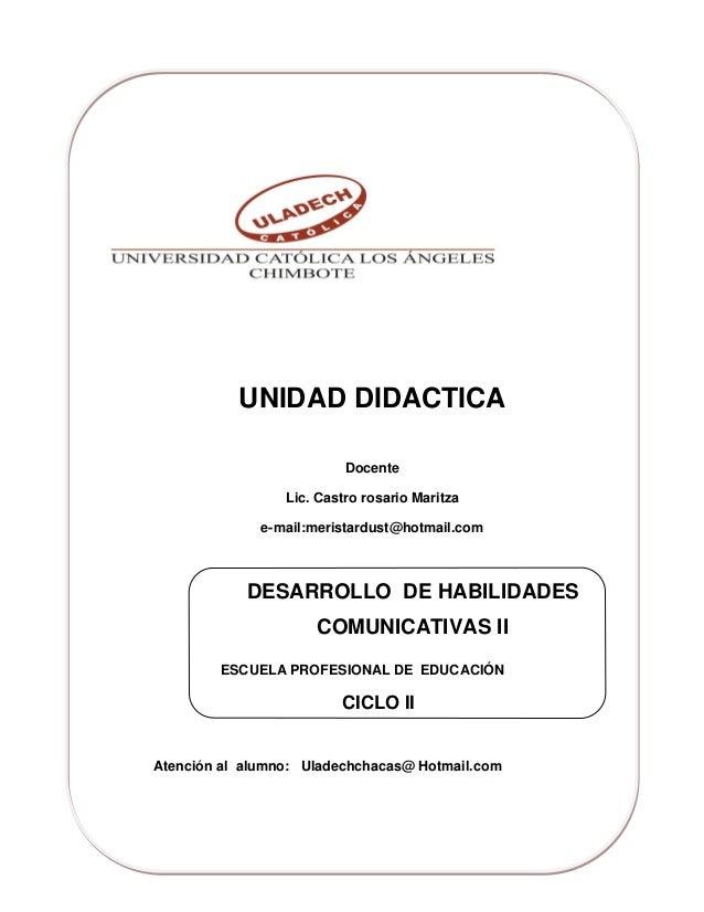 UNIDAD DIDACTICA                          Docente                 Lic. Castro rosario Maritza              e-mail:meristar...