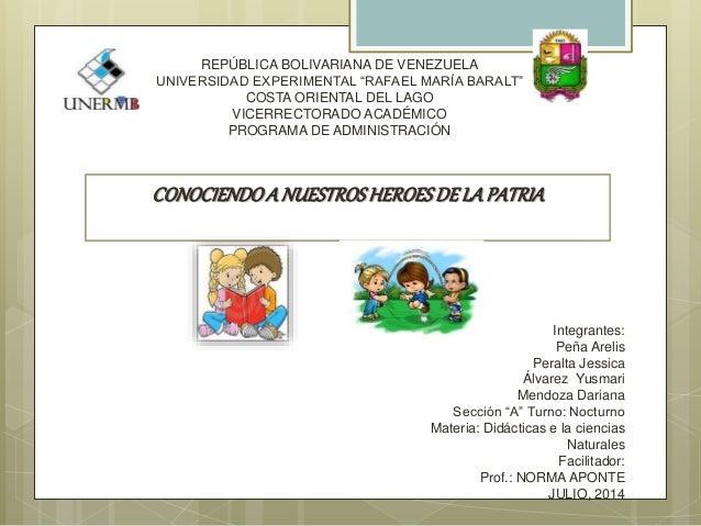 """REPÚBLICA BOLIVARIANA DE VENEZUELA UNIVERSIDAD EXPERIMENTAL """"RAFAEL MARÍA BARALT"""" COSTA ORIENTAL DEL LAGO VICERRECTORADO A..."""
