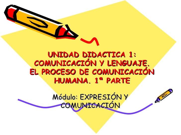 UNIDAD DIDACTICA 1: COMUNICACIÓN Y LENGUAJE. EL PROCESO DE COMUNICACIÓN HUMANA. 1ª PARTE Módulo: EXPRESIÓN Y COMUNICACIÓN