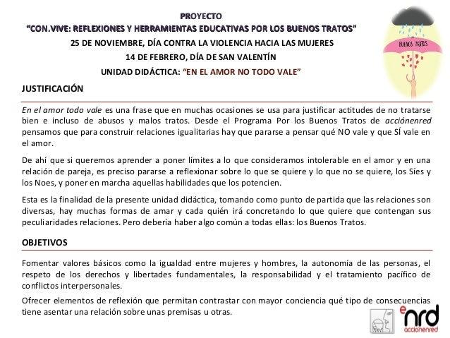 """PROYECTO """"CON.VIVE: REFLEXIONES Y HERRAMIENTAS EDUCATIVAS POR LOS BUENOS TRATOS""""           25 DE NOVIEMBRE, DÍA CONTRA LA ..."""
