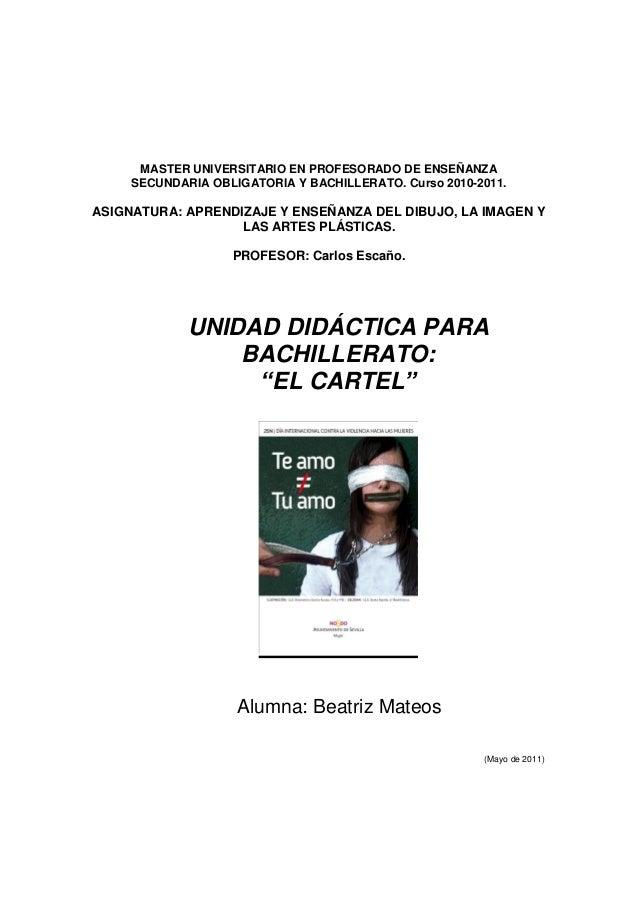 MASTER UNIVERSITARIO EN PROFESORADO DE ENSEÑANZA SECUNDARIA OBLIGATORIA Y BACHILLERATO. Curso 2010-2011. ASIGNATURA: APREN...