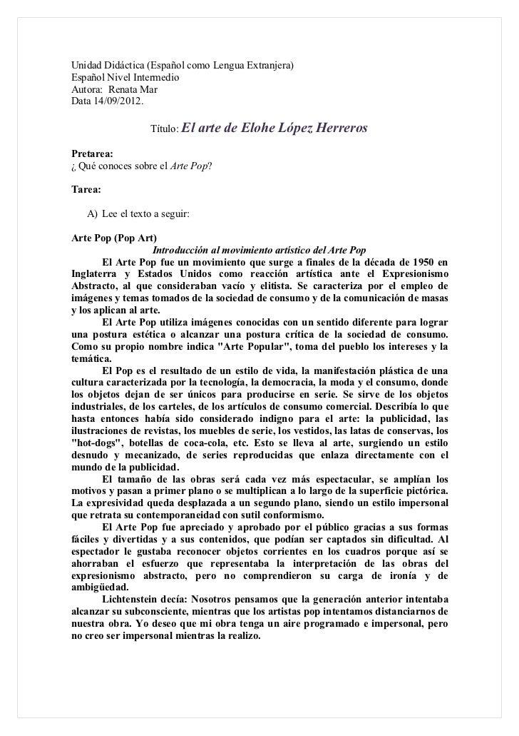 Unidad Didáctica (Español como Lengua Extranjera)Español Nivel IntermedioAutora: Renata MarData 14/09/2012.               ...