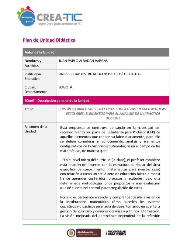 Plan  de  Unidad  Didáctica  Autor  de  la  Unidad  Nombres  y  Apellidos  JUAN  PABLO  ALBADAN  VARGAS  Institución  Educ...
