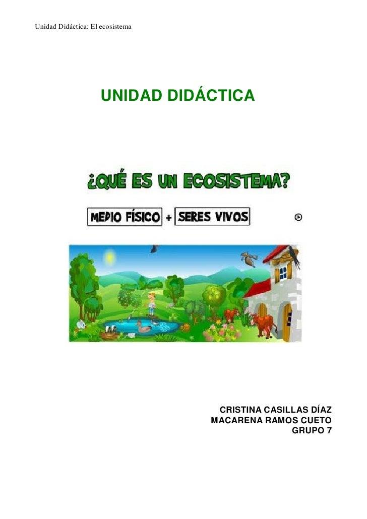 Unidad Didáctica: El ecosistema                     UNIDAD DIDÁCTICA                                   CRISTINA CASILLAS D...