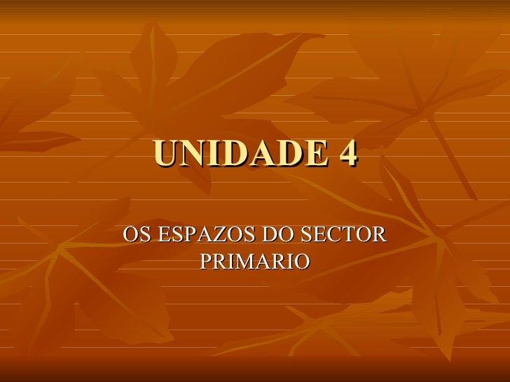 UNIDADE 4 OS ESPAZOS DO SECTOR PRIMARIO