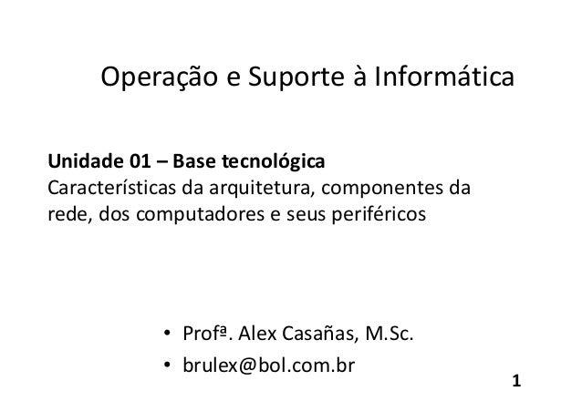 Operação e Suporte à Informática Unidade 01 – Base tecnológica Características da arquitetura, componentes da rede, dos co...