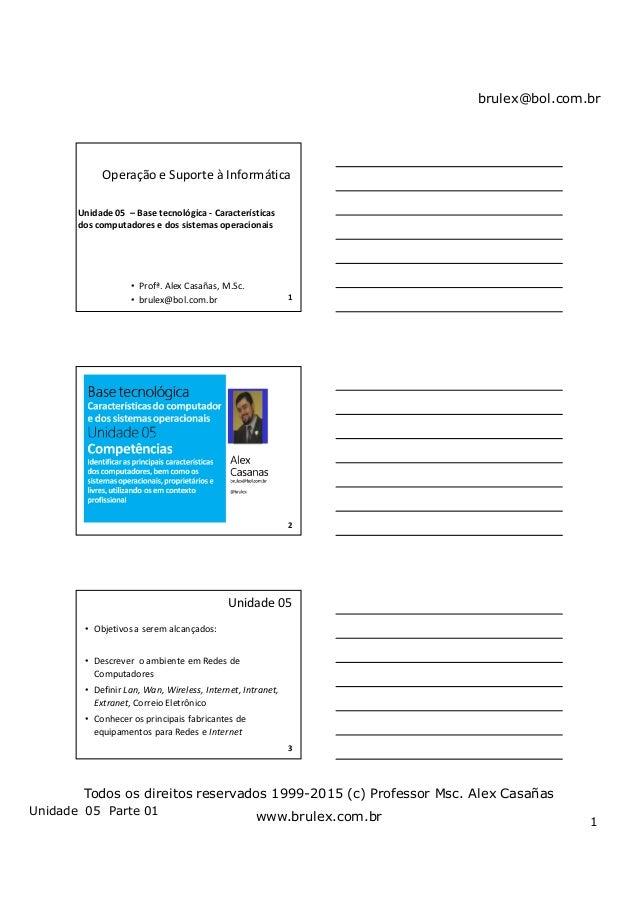 brulex@bol.com.br Unidade 05 Parte 01 1 Todos os direitos reservados 1999-2015 (c) Professor Msc. Alex Casañas www.brulex....