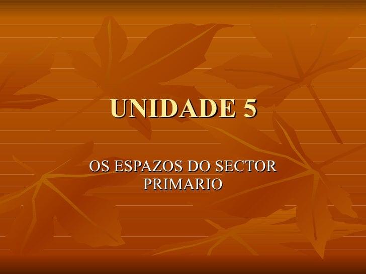 UNIDADE 5 OS ESPAZOS DO SECTOR PRIMARIO
