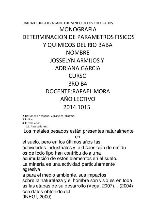 UNIDAD EDUCATIVA SANTO DOMINGO DE LOS COLORADOS  MONOGRAFIA  DETERMINACION DE PARAMETROS FISICOS  Y QUIMICOS DEL RIO BABA ...